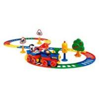 مجموعه قطار با ریل و علائم راهنمایی